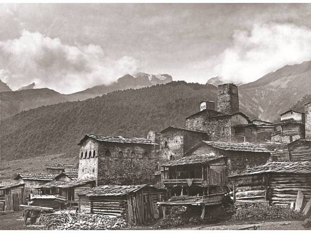 Village of Gebi and Monte Cioda from the village church. 1890. Photo courtesy of  Fondazione Sella, Biella
