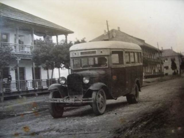 A bus in Zugdidi in the 1930's