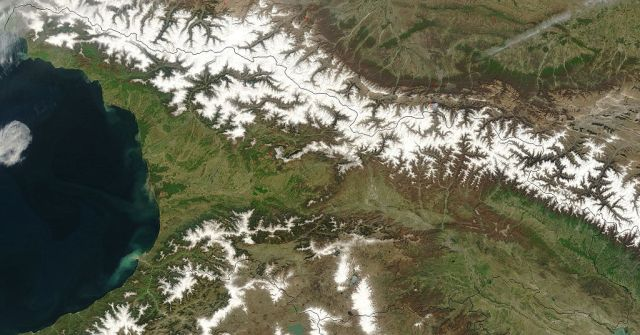 Satellite image of Georgia showing the northern border along the Greater Caucasus Mountain Range. Courtesy of NASA.