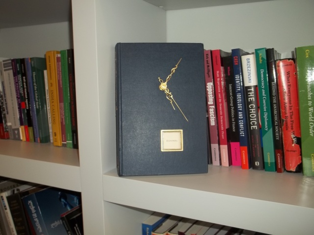 A book clock at Political science literature at the Saakashvili Presidential Library. Photo by Marita Ratiani