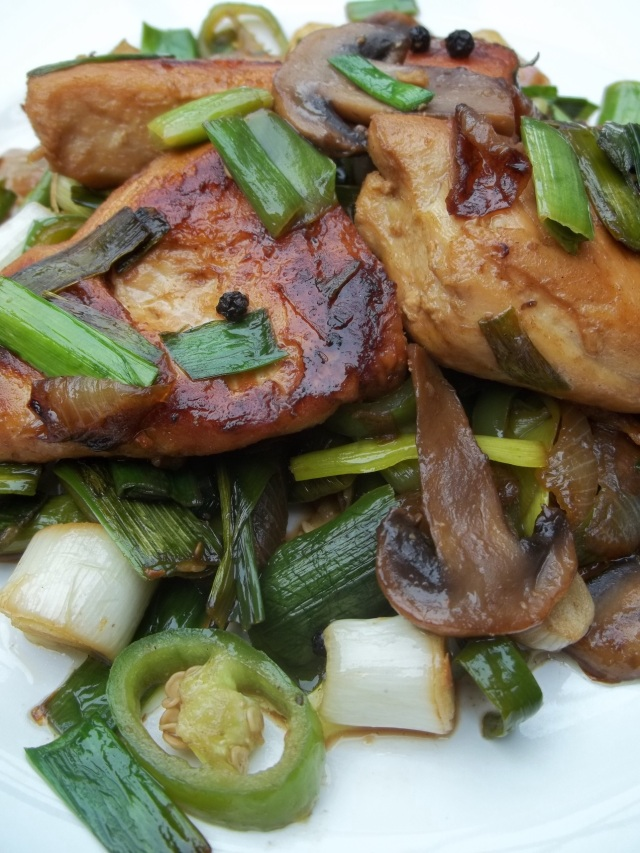 Chicken with Green Garlic ready for Serving - Copy