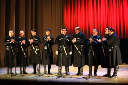 Members of the Rustavi Choir of the Ensemble Rustavi