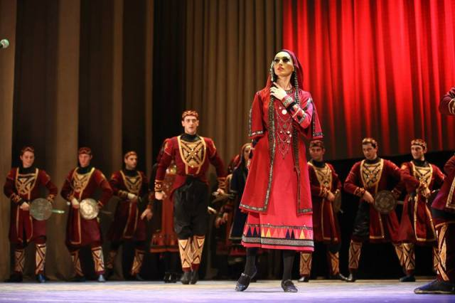Rustavi Ensemble dancers performing the Khevsuruli (ხევსურული)  mountain dance