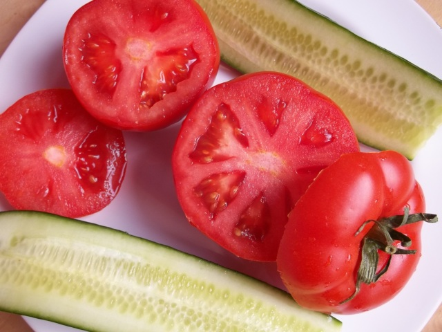 Slice Cucumber and top of Tomatoes - Copy