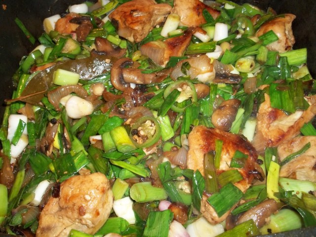 Stirred Ingredients for Chicken with Green Garlic - Copy