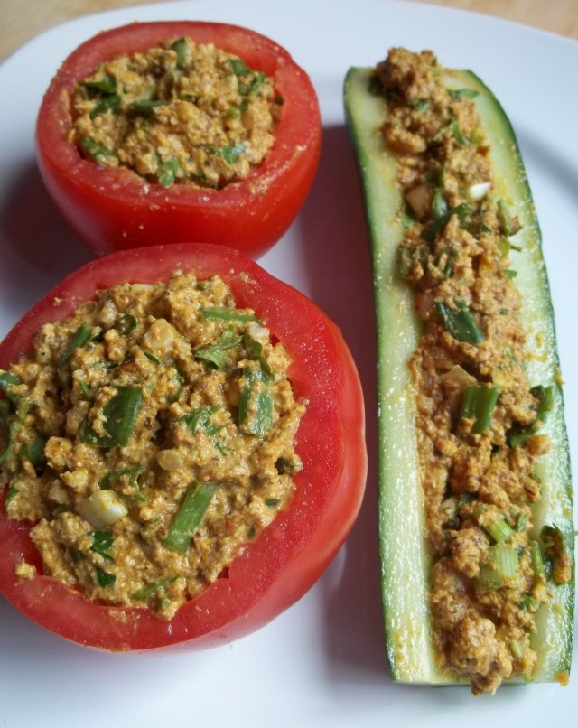 Stuff the tomatoes and Cucumber with Nut Mixture - Copy