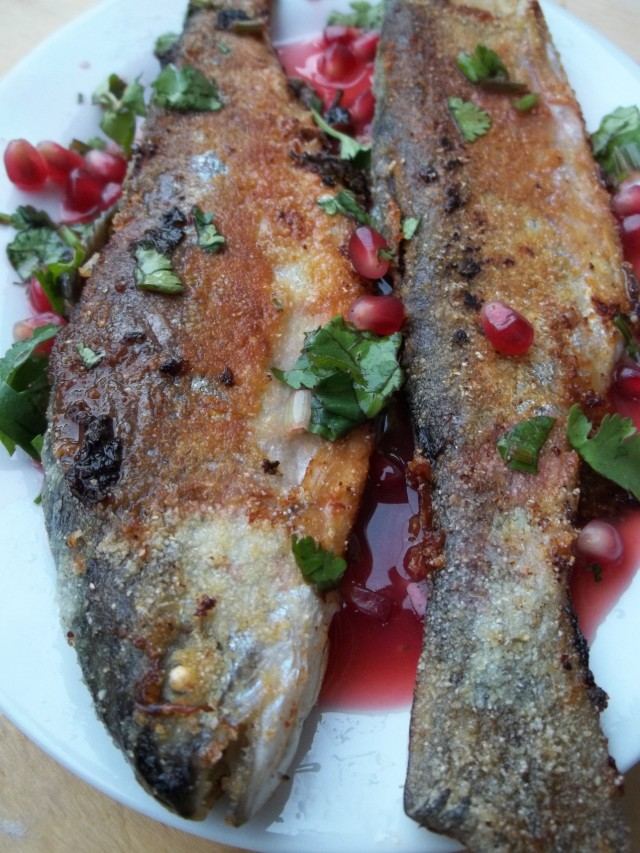 Trout with Pomegranate Sauce ready for serving - Copy