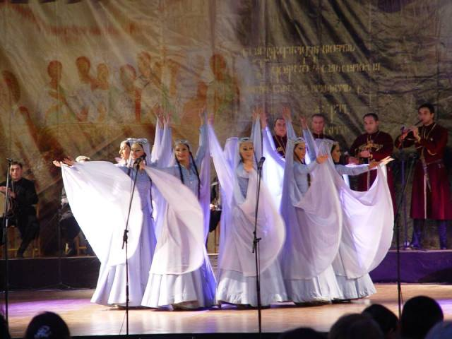Members of the Rustavi Ensemble perform the women's dance 'Narnari'