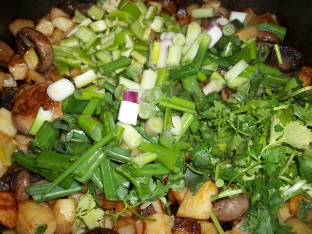Adding Green Onion and Fresh Coriander - Copy