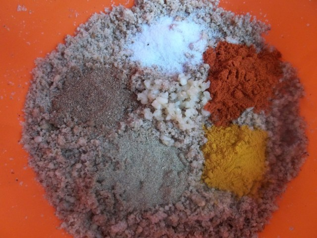 Adding spices to crushed hazelnuts - Copy