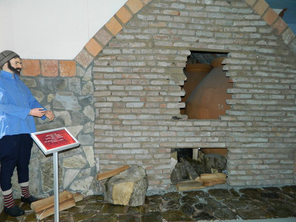 Exhibit at the Making Qvevri exhibit at the Qvevri and Qvevri Wine Museum