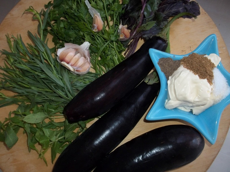 Ingredients for Eggplant with Mayonnaise and Mint - Copy