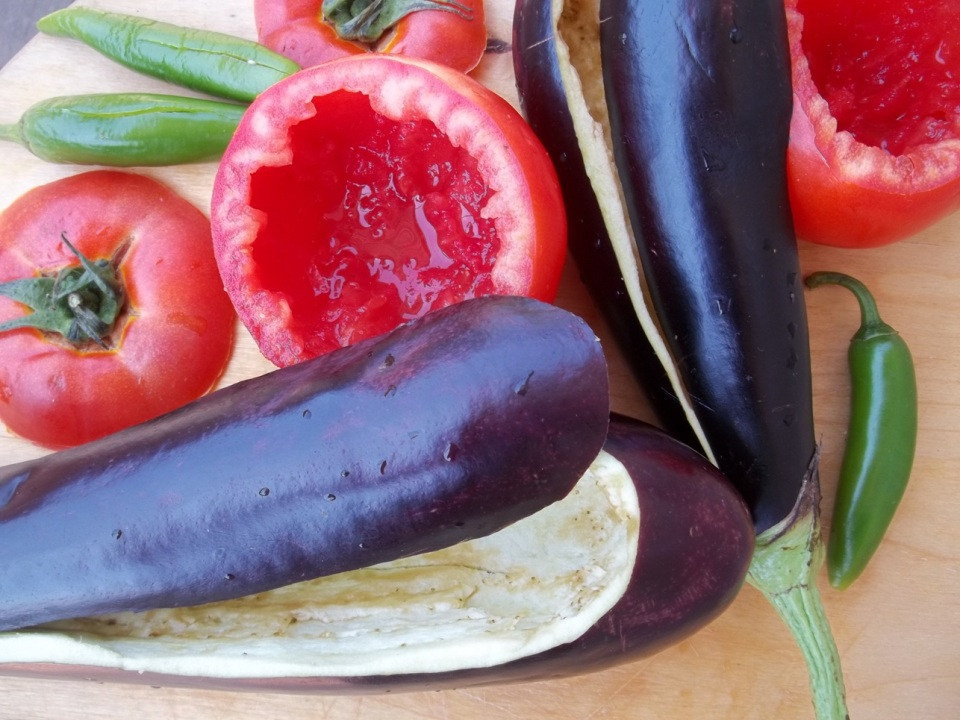 Preparing the eggplant and tomatoes - Copy