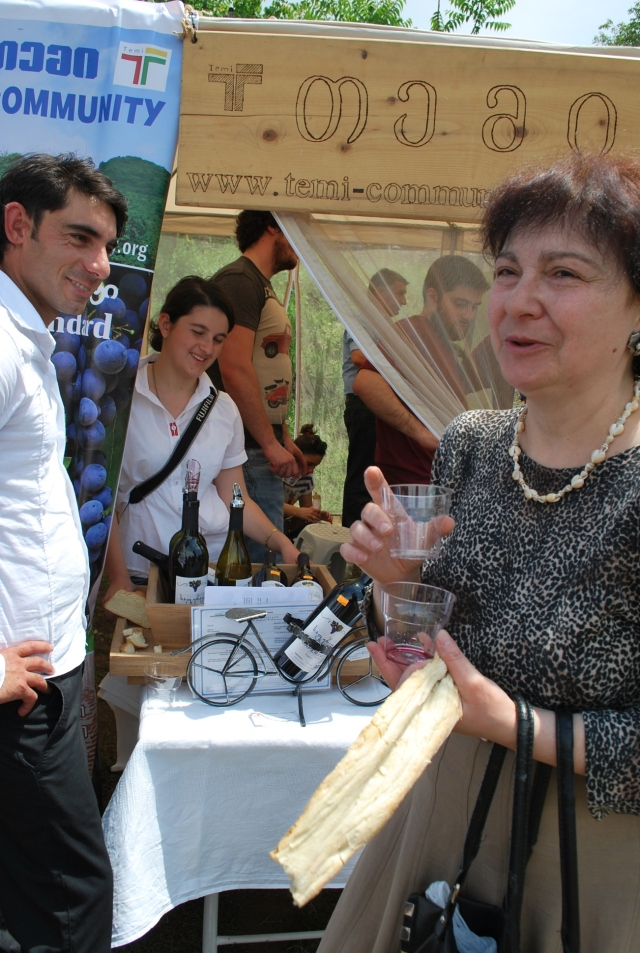Sampling wines at the New Wine Festival