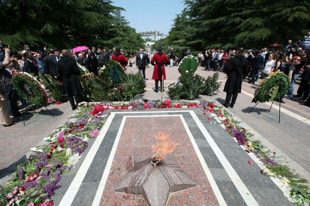 The eternal flame at the Tomb of the Unknown Warrior in Vake Park, Tbilisi