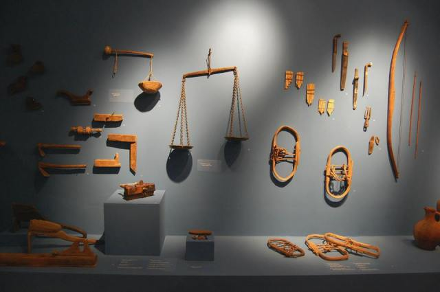 Display of wooden tools at the Martvili Regional Museum