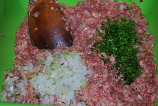 Adding Parsley and Chopped Onions - Copy