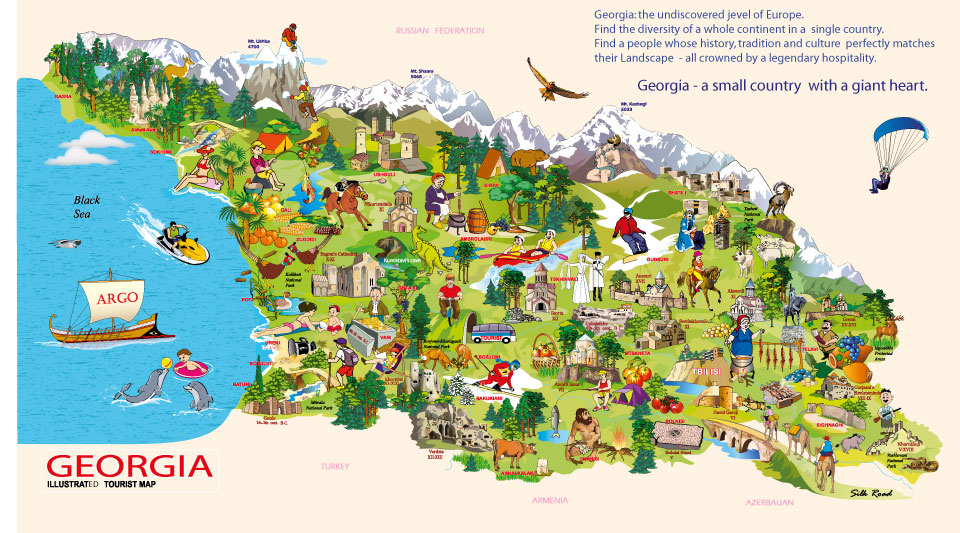 {About Tourism Tourist Maps of Georgia – Georgia Tourist Attractions Map