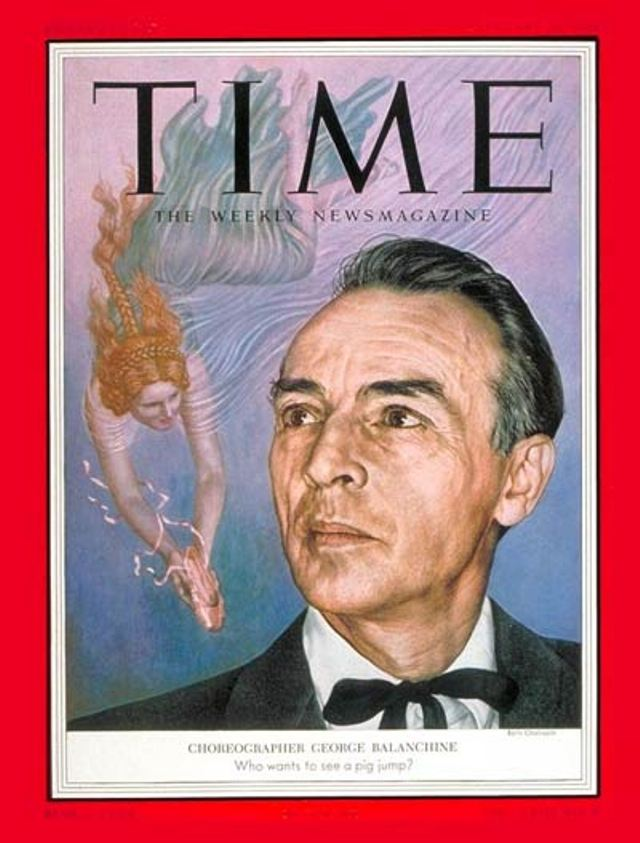 TIME Magazine Cover. George Balanchine - 1954. Cover Credit BORIS CHALIAPIN