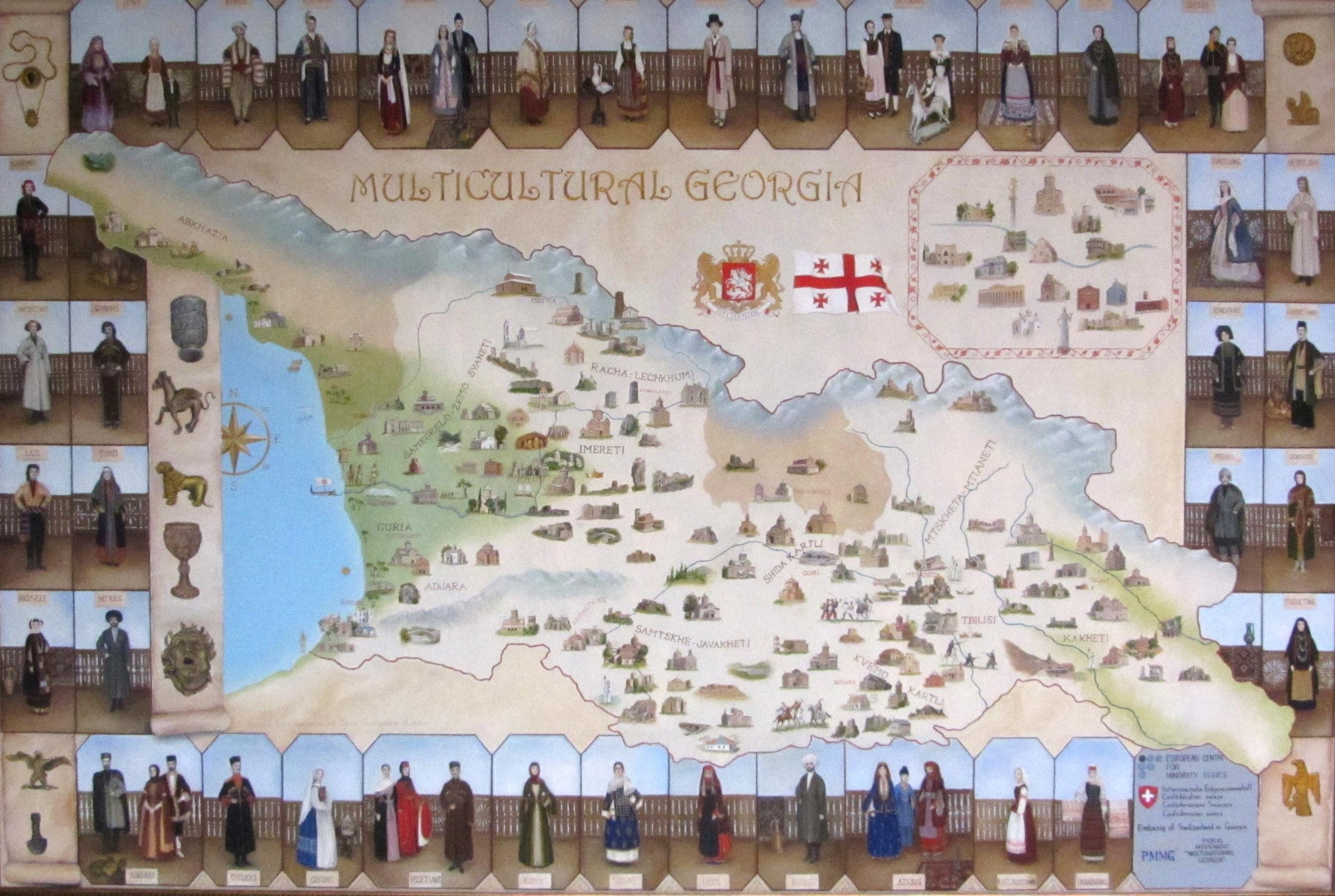 Maps of georgia georgia about this map of georgia depicts cultural sites and people of the georgian regions in national clothing past and present click on the map to see a larger gumiabroncs Images