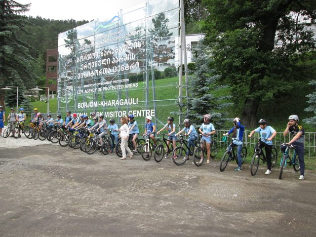 Young cyclists at the Borjomi-Kharagauli National Park