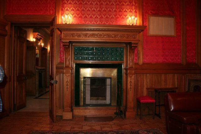 An ornate fireplace at the Romanov Palace