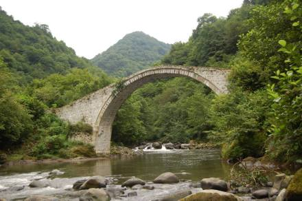 Arch stone bridge at Kobalauri village.