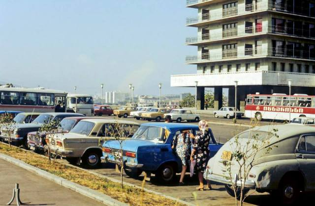 Cars and buses in Tbilisi.  Photo taken in 1977 by Erhard K