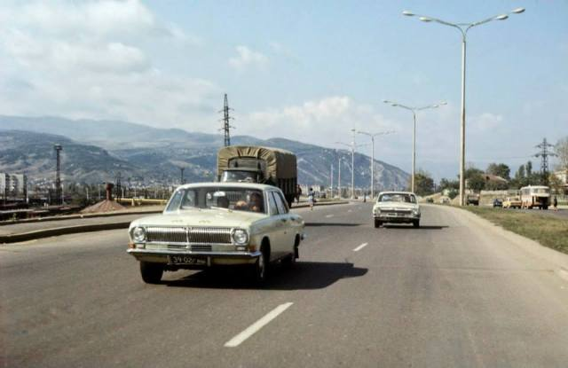 Cars on a Georgian highway in the 1970's. Photo taken in 1977 by Erhard K