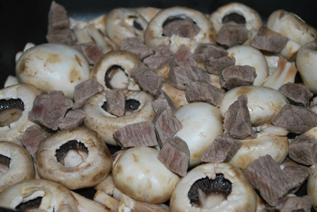 Cooking Beef and Mushrooms