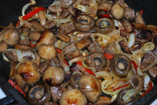 Cooking Beef with Mushrooms