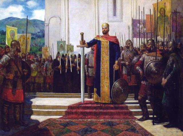 Georgian King David IV before the Battle of Didgori.