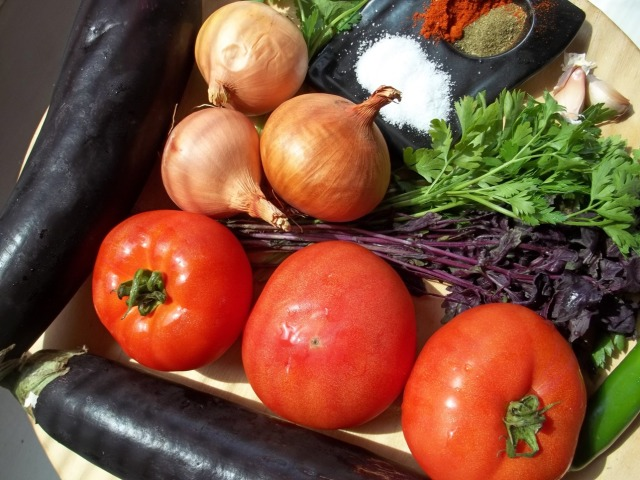 Ingredients for Eggplant with Herbs and Tomatoes