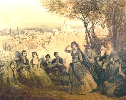 Lithograph by Vasily Timm of a Grigory Gagarin painting of Prince Alexander Chavchavadze's three daughters dancing.