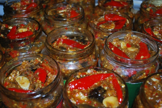 Marinated Eggplant and Red Peppers in Jars - Copy