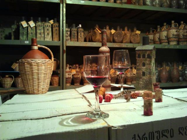 Mildiani Family Winery ceramic wine and chacha bottles