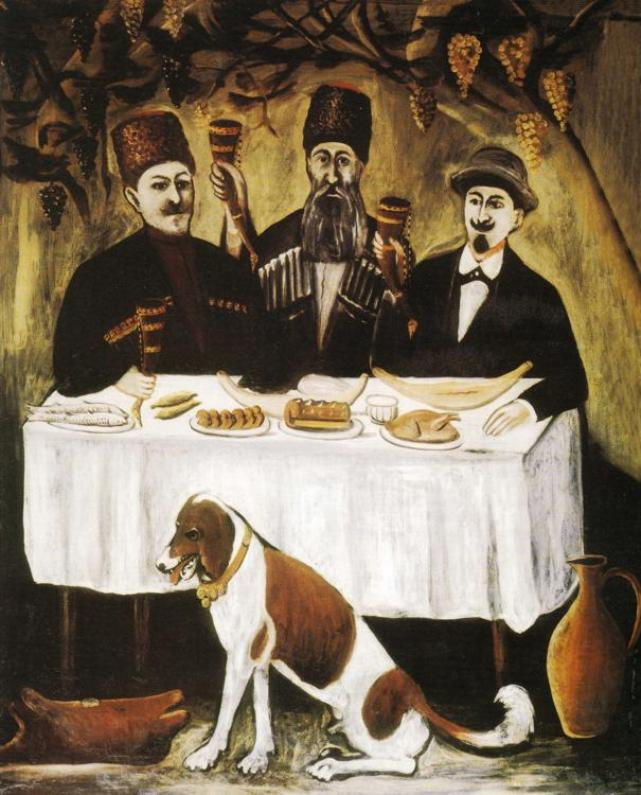 'Feast of Three Noblemen' by Georgian artist Niko Pirosmani
