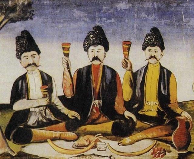Painting of a feast by Georgian artist Niko Pirosmani.