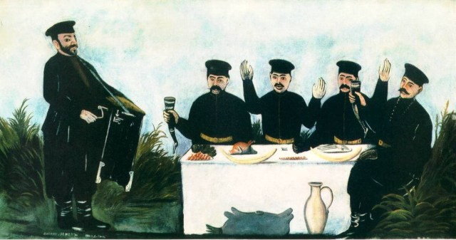 'Feast with Organ Grinder' by Georgian artist Niko Pirosmani.