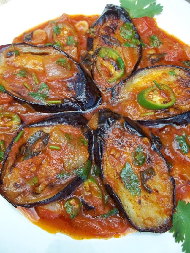 Eggplant with Herbs and Tomatoes Ready for Serving - Copy