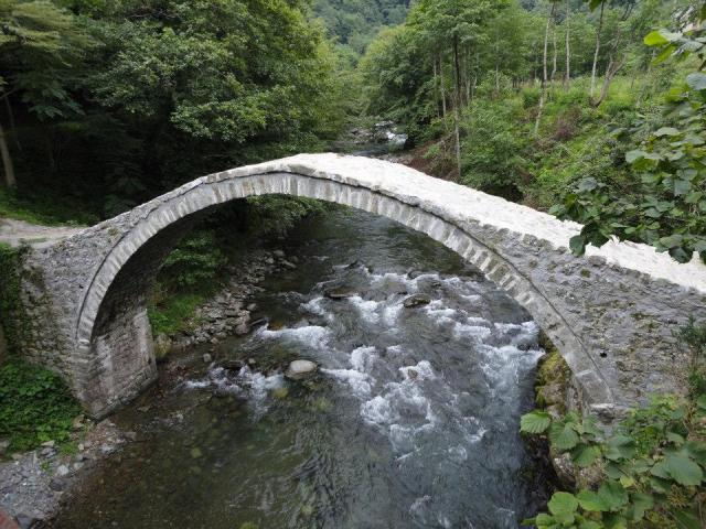 Medieval stone arch bridge at Tskhemvani village.