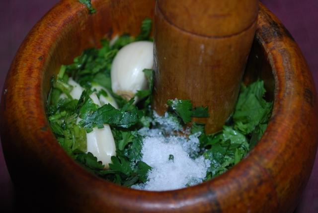 Smashing Garlic Herbs and Salt