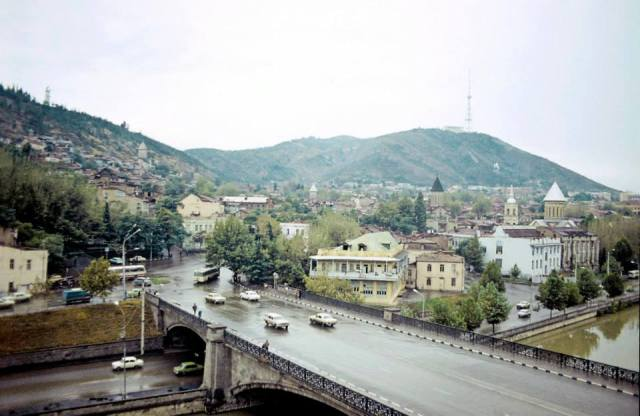The Metekhi Bridge in Tbilisi. Photo taken in 1977 by Erhard K