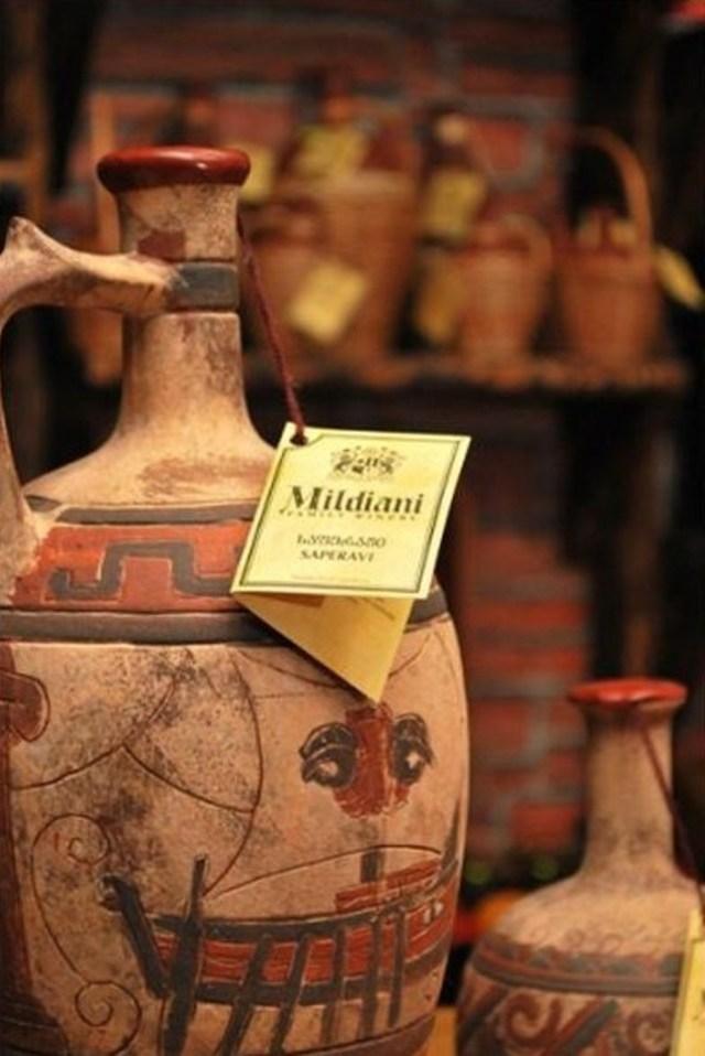 A ceramic wine bottle