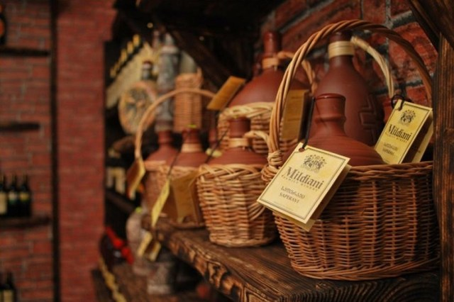 Ceramic wine bottles at the Mildiani Family Winery shop in Tbilisi