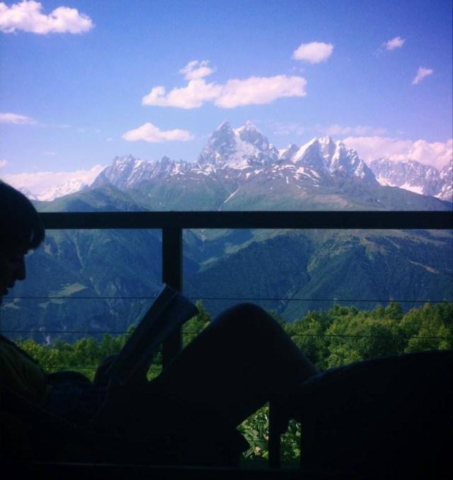 Stunning views of the Caucasus Mountains from Zuruldi Restaurant.