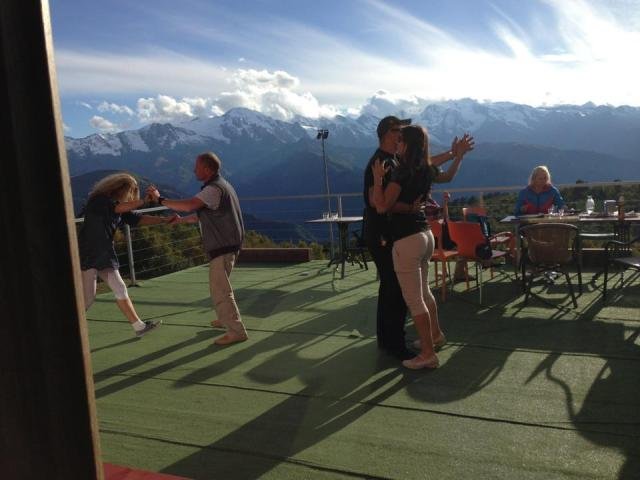 Dancing on the terrace of the Zuruldi Restaurant.