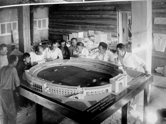 1930's photograph of the design model for the Dinamo stadium in Tbilisi.