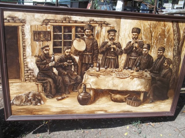 Sepia painting at the Dry Bridge Art Market in Tbilisi