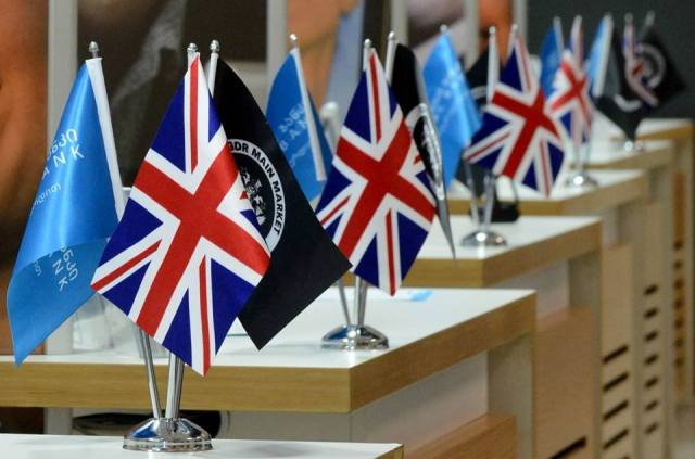 Union Jack flags displayed at the TBC Head Office in Tbilisi